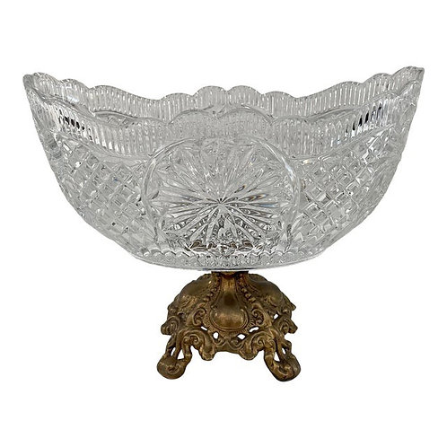 Mid to Late 20th Century Vintage Cut Glass Decorative Bowl