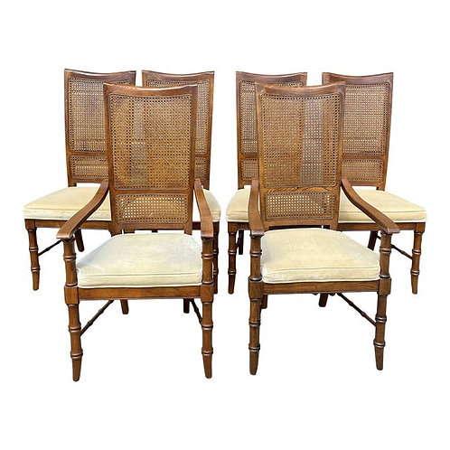 Mid 20th Century Cane & Faux Bamboo Dining Chairs- Set of 6
