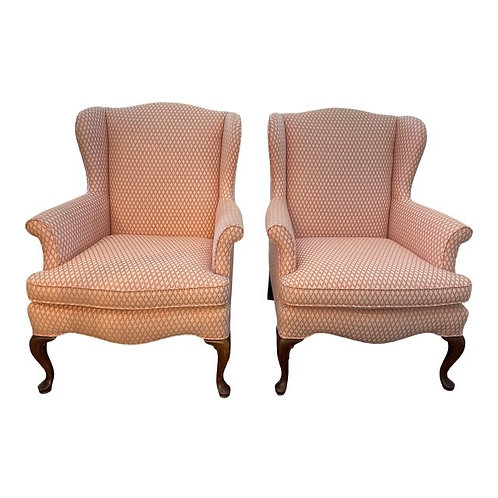 Mid 20th Century Vintage Upholstered Wingback Chairs- a Pair