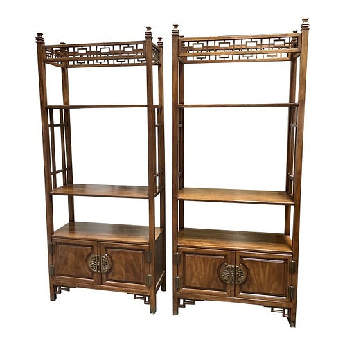 Late 20th Century Chinoiserie Etagere Display Cabinets- a Pair