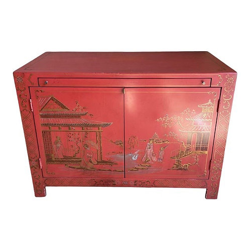 Vintage Red Lacquer Chinoiserie Dry Bar Cabinet