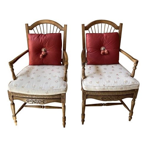 Vintage Country French Rush Seat Armchairs by Trouvailles- a Pair