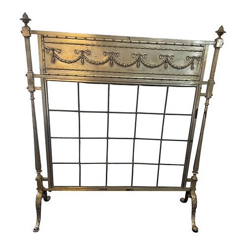 Mid 20th Century French Style Heavy Beveled Glass Fireplace Screen