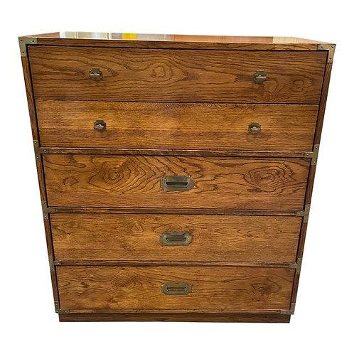 1970's Bernhardt Campaign Style High Boy Dresser