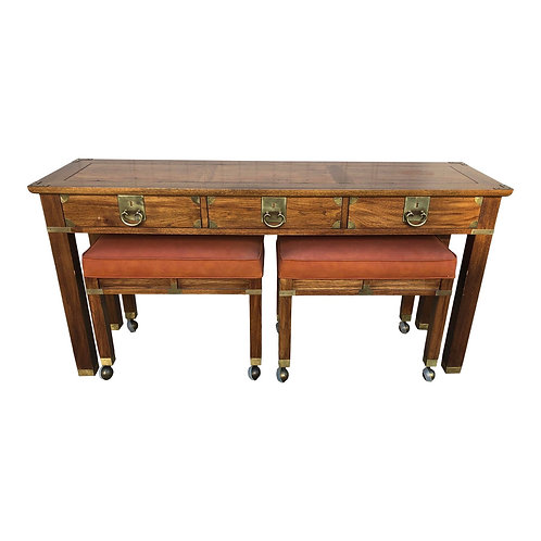 Hekman Chinoiserie Style Console Table & Benches- Set of 3