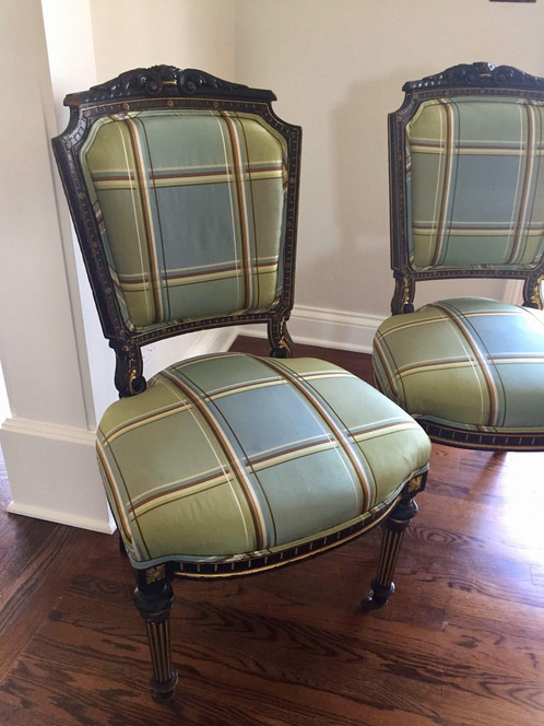 Pair of antique accent chairs with painted black and gold frame set on  front casters. This exquisite pair shows natural wear to the frame that  adds ... - Antique Empire Style Side Accent Chairs - A Pair My Old Kentucky