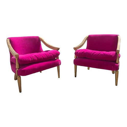 Mid 20th Century Hot Pink Accent Chairs- a Pair
