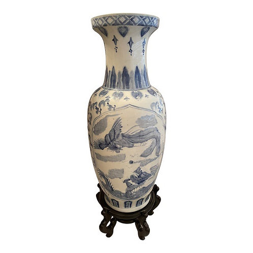 Mid 20th Century Chinese Floor Vase & Stand