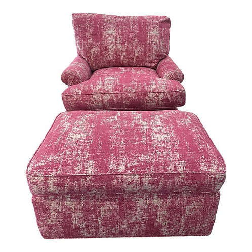Early 21st Century Pink Upholstered Lounge Chair & Ottoman Set