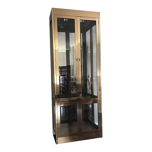Mastercraft Brass & Glass Hollywood Regency Illuminated Display Cabinet