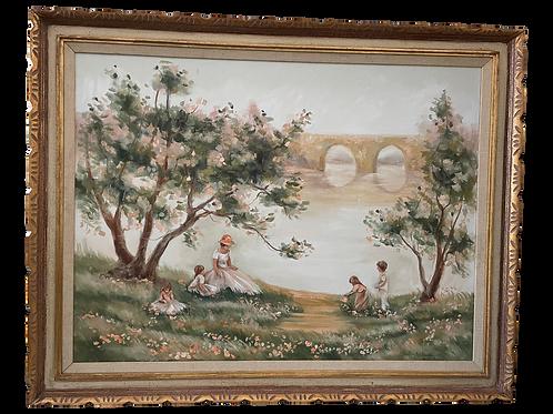 1980's Vintage Large Framed Oil Painting