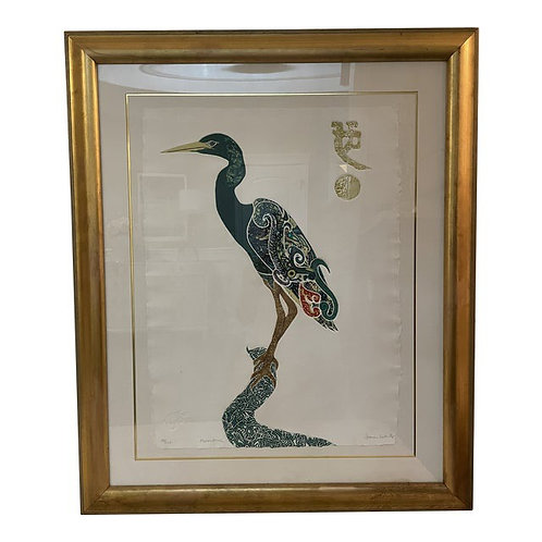 """Late 20th Century Jonna White Limited Ed Chinoiserie Etching of a Heron """"Moonsto"""