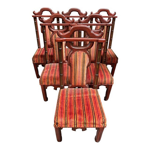 Mid 20th Century Chinoiserie Asian Antique Style Dining Chairs- Set of 6