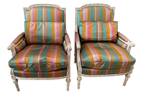 French Style Silk Accent Chairs by Ej Victor- a Pair