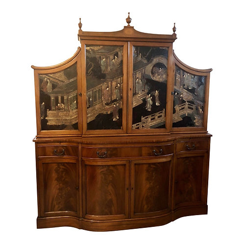 Antique Chinoiserie Two-Piece Burl Wood China Cabinet