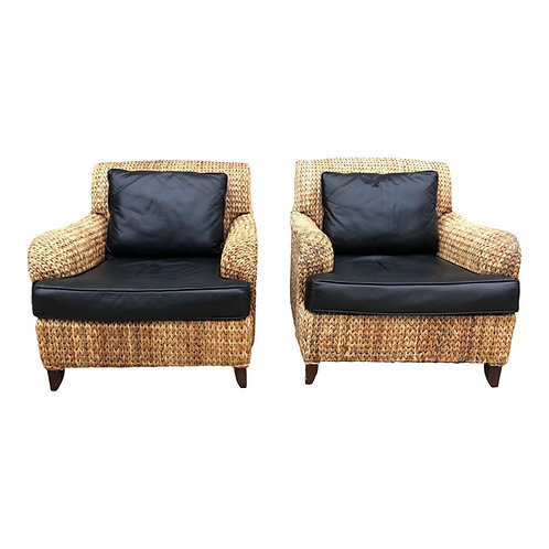 Vintage Set of Palecek Woven Rattan Lounge Chairs