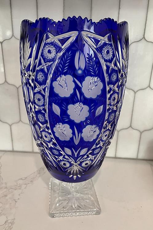 Mid 20th Century Vintage Cobalt Blue Large Crystal Vase