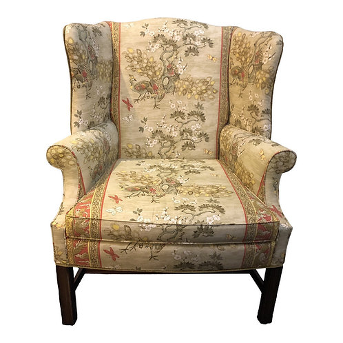 Late 20th Century Chinoiserie Print Wingback Chair