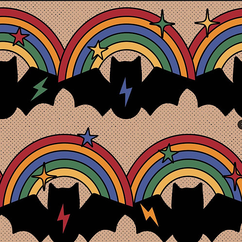 Retro Rainbow Bats Twirly Skirt
