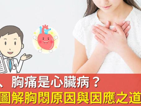 胸悶、胸痛是心髒病?圖解胸悶原因與因應之道
