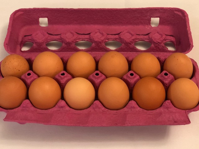 Farm fresh eggs are displayed at a recent farm to fork dinner held in Fairbury / CIFN photo.