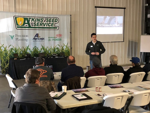 Eric Huber of Precision Planting talks to area growers at a meeting hosted by Atkins Seed Service / CIFN photo.
