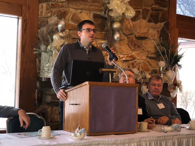 Dr. Trent Ford speaks at the LCSWCD annual meeting in Pontiac this week / CIFN photo.