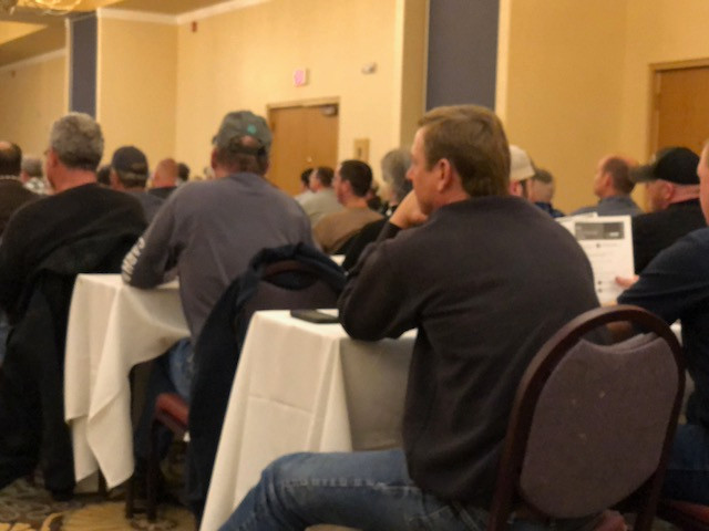 Local farmers attend a dicamba training session in Bloomington last Friday / CIFN photo.