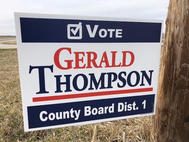 A Gerald Thompson campaign sign is shown near Lexington on Tuesday / CIFN photo.