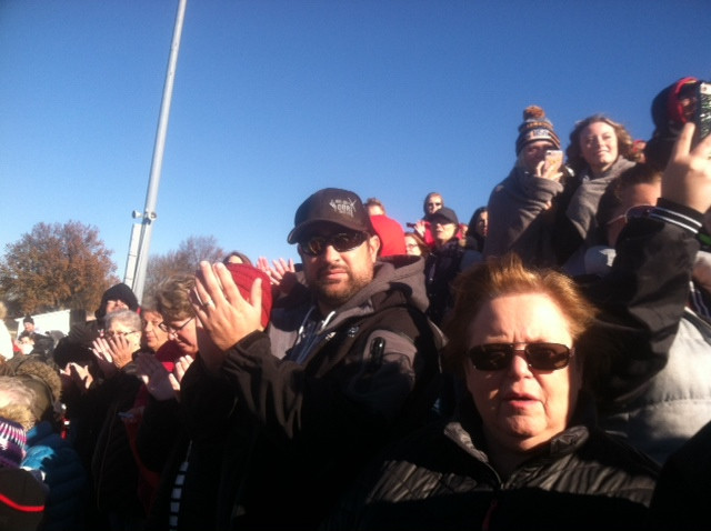 Fans gather at the GCMS football field Saturday morning for a celebration / CIFN photo.