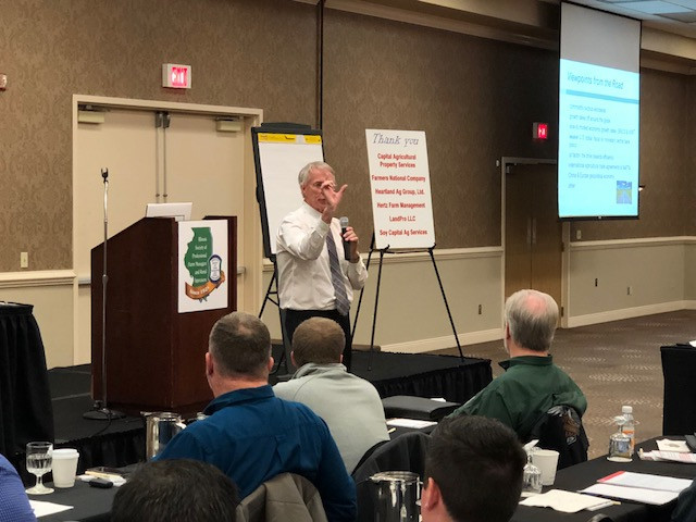 Dr. Kohl speaks at the Illinois Land Values Conference in Bloomington last month / CIFN photo.
