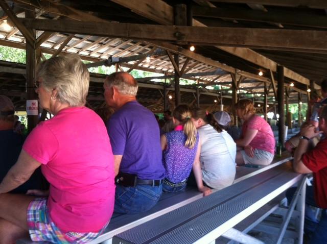 A crowd takes in the Ford County Fair hog show Tuesday / CIFN photo.