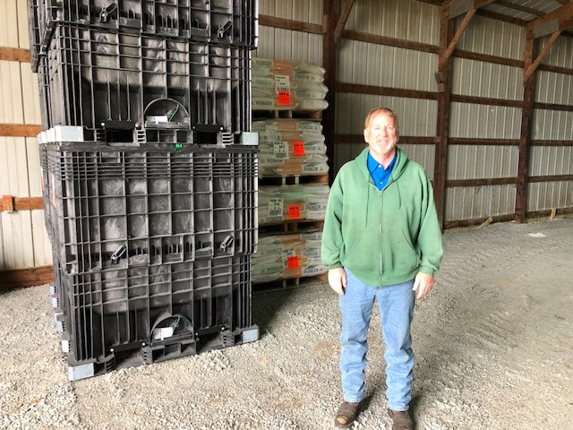 Greg Kerber stands in his Ford County shed recently / CIFN photo.