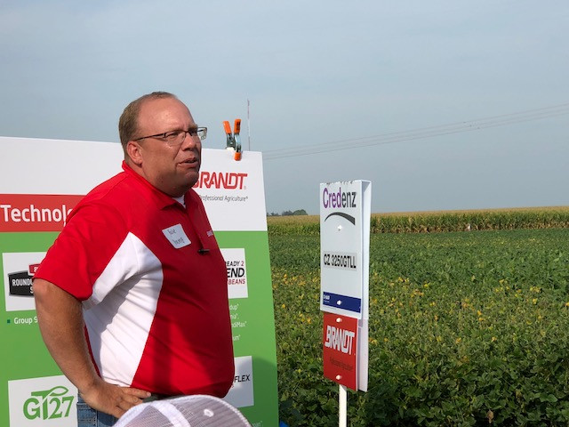 Yale Young explains soybean traits during the recent Brandt field day at Lexington / CIFN photo.