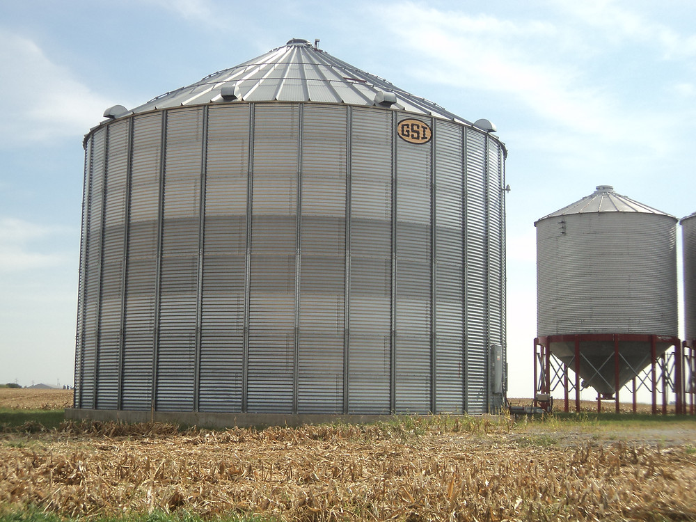 A grain storage facility is shown near Gridley in McLean County / CIFN photo.