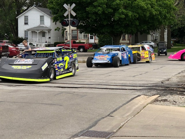 Race cars parade down the streets of Fairbury on Saturday afternoon / CIFN photo.