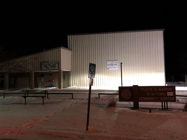 Fairbury's Stafford Community Center in shown Wednesday night / EOCI photo.
