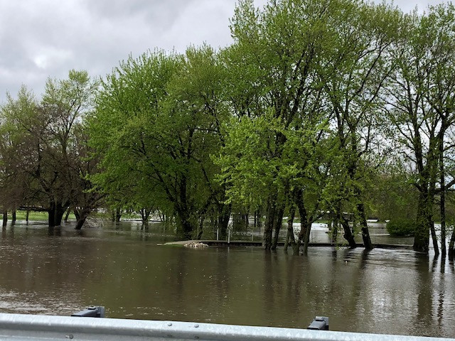 A swollen Indian Creek is shown at the south end of Fairbury, which is where the golf course is located / EOCI photo.