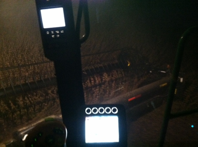 Kent's view during a recent night of combining beans / CIFN photo