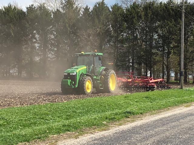 A local farmer works ground last week in Livingston County / CIFN photo.