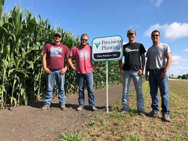 Interns (l-r) Jacob Larkin, Mark Raube, Colin Stark and Caleb Hartman at the Precision Planting farm at Pontiac / CIFN photo.
