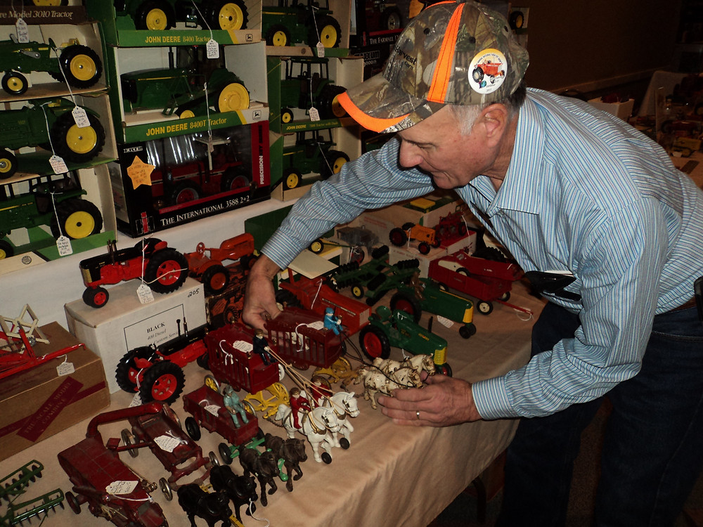Dave Copple of Hanna City shows off his toy collection / CIFN photo.