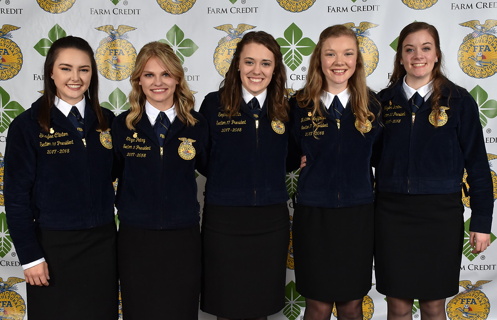 Pictured (from L to R) in Photo 2018-2019 State Officers.jpg: Shaylee Clinton, Reporter; Eliza Petry, Vice President; Sophia Hortin, President; Miriam Hoffman, Secretary; Taylor Hartke, Treasurer (photo provided)