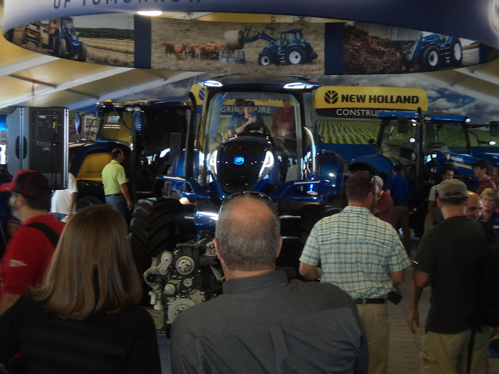 New Holland unveils a new methane-powered tractor at the Farm Progress Show Tuesday morning / CIFN photo.