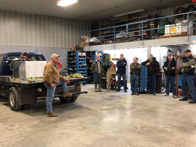 Farmers gather in Jim Ifft's shed last week near Fairbury for a cover crop meeting / CIFN photo.