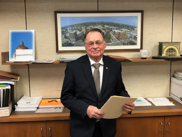 John McIntyre stands in his McLean County Board office Monday morning /EOCI photo.
