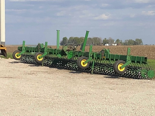 A rotary hoe is shown parked on a McLean County farm earlier this month / CIFN photo.