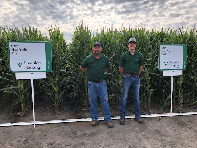 Jason Webster, left, and Eric Huber at the Precision Planting PTI Farm this month / CIFN photo.