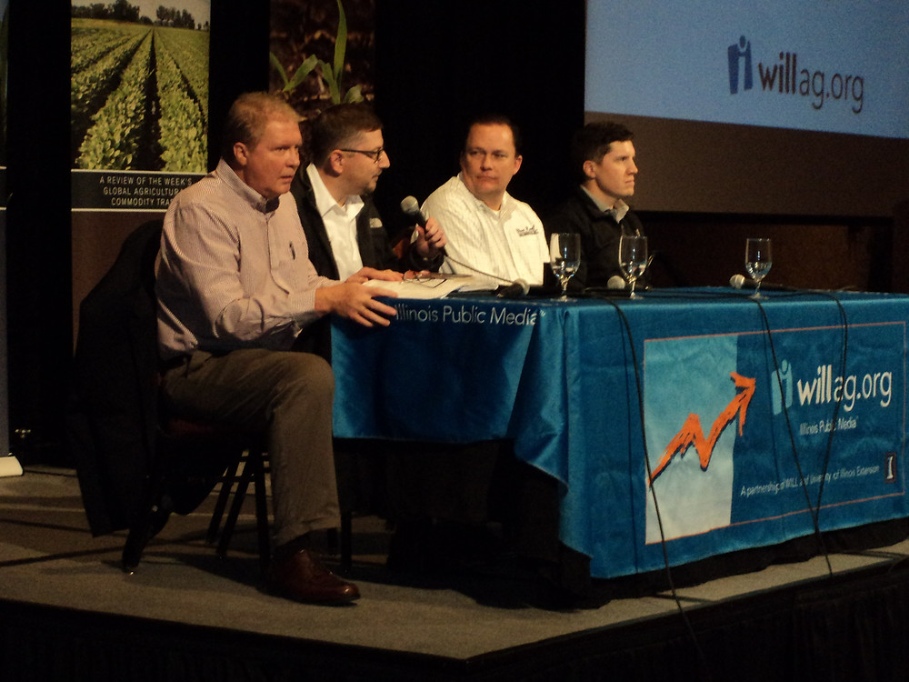 Todd Hubbs (with mic) was among the panelists at the recent Farm Assets Conference in Normal / CIFN photo.
