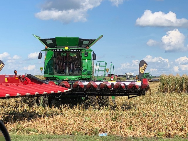 Combine demos at this year's Farm Progress Show in Decatur / CIFN photo.